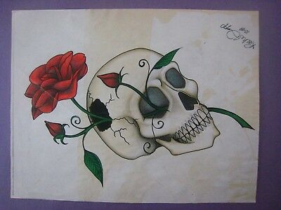 Tattoo Flash... Rose & Skull.... # 151..Hand colored