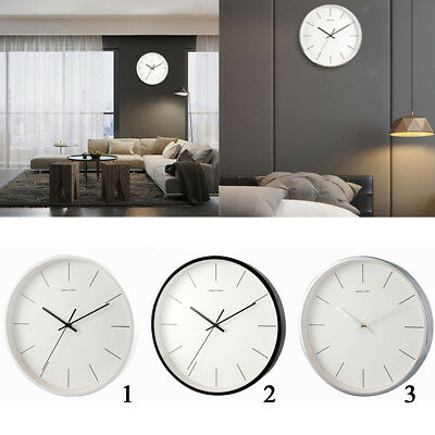 Decorative Wall Clock Glass Face Metal Frame 12'' Silent Quartz Movement