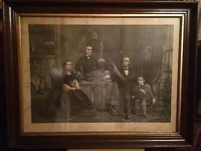 Antique LARGE Abraham Lincoln & Family George Stinson Framed Print Etching Litho