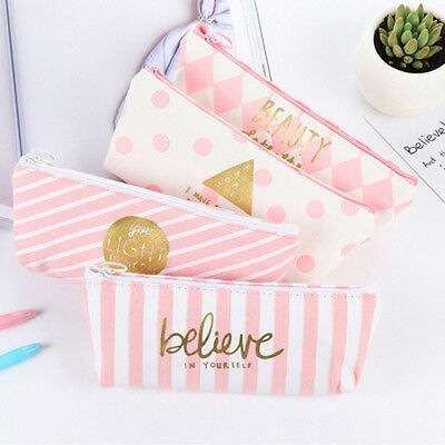 Pencil Case Bag - Makeup Bag Case with Zipper - Canvas - Pink and White