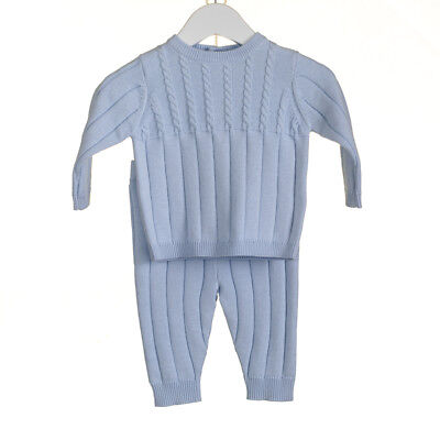 Baby Boys Stunning Spanish Style Blue Traditional Cable Knit Suit Up to 3 Years