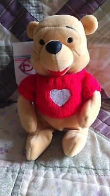"Disney Store Exclusive Plush, Winnie the Pooh, ""Pooh w/ Red Sweater"", 8"", MWMT"