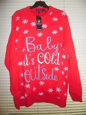 Boohoo Maternity BABY ITS COLD OUTSIDE Christmas Jumper *Size M/L -12-14* BNWT4