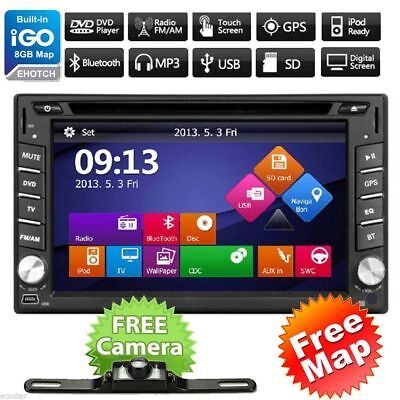 GPS Navigation HD Double 2 DIN Car Stereo DVD Player Bluetooth Radio MP3 In Dash