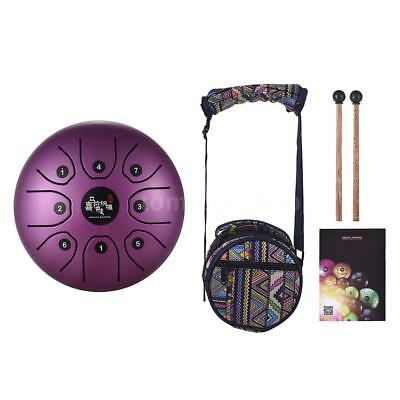 Purple 8-Tone Steel Tongue Drum C Key Percussion Drum with Bag B7H8