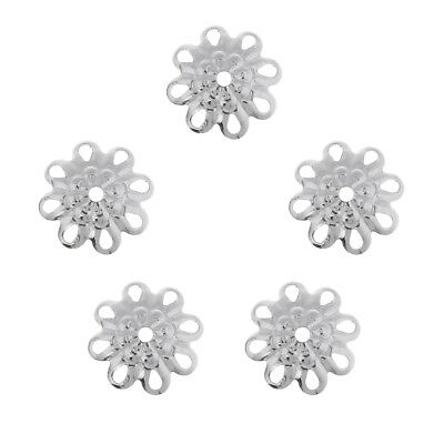 5Pcs Sterling Silver Flower Bead Cap 8mm For Craft DIY Jewelry Making,Silver