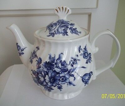 Caldone English China Tea Pot - Ceracraft- Blue & White Flowers