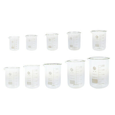 Borosilicate Glass Beakers Lab Low Form Chemical Measuring Cups 100ml - 2000ml