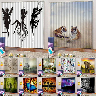 2 Panels Set Ready Made 3D Nature Animal Curtain Blackout Window Door Drape