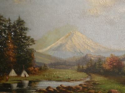 Large Antique Oil on Canvas Landscape of Mt. Hood with Tipis