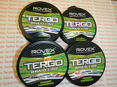 Rovex Tergo Braid 250yd spools Green and Hi-Viz Yellow