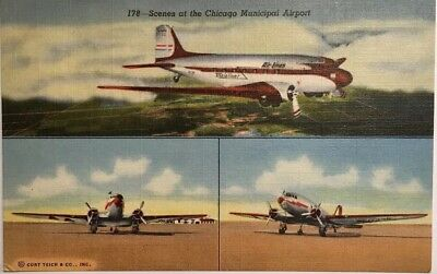 """Vintage Airport """"Chicago Midway"""" Airport circa 1930's"""