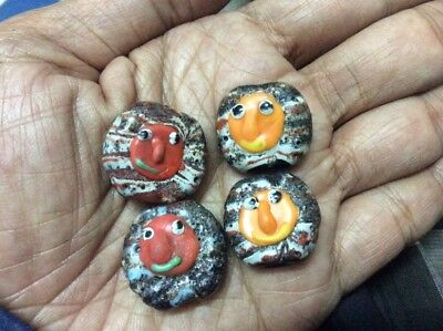 4 pcs  Antique Beautiful 2 Faces Lovely Stunning Ancient Mosaic Glass Bead Stone