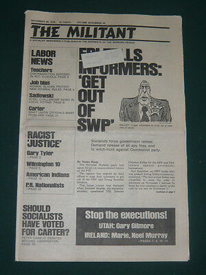 The Militant newspaper/Nov 26 1976/White Flight/Carter's Church/S Africa