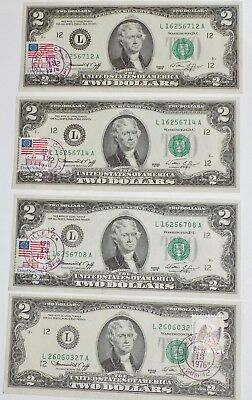 Four $2 Bills, First day Issued, Stamped & Hand Cancelled By Post Office,