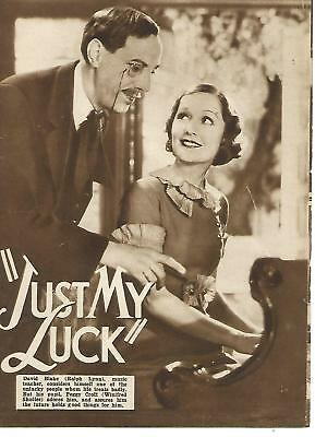 """Ralph Lynn / Winifred Shotter / Robertson Hare """"Just My Luck"""" Film Booklet"""
