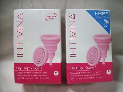 2- Intimina Lily Cup Compact Collapsible Menstrual Cup Size A ~ FREE SHIPPING!