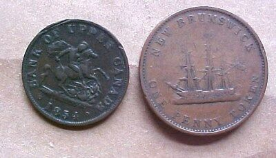 These Two Canada Tokens - 1854 Bank Of Upper Canada 1843 Nb Penny Token - Coins