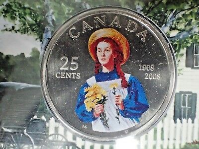 2008 Canada 100th Anniversary Anne of Green Gables 25 Cents Colored Coin in Card