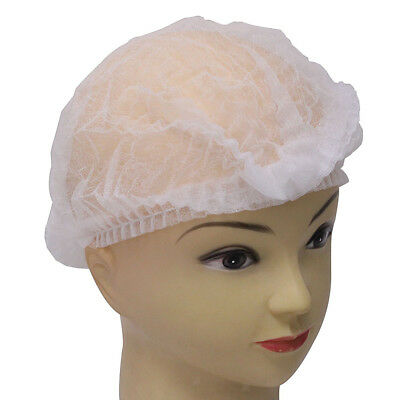 "21"" Disposable Non-woven Elastic Pleated Bouffant Mob Bar Cap Hair Net 100P"