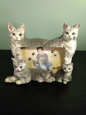 """E&S Imports """"CAT"""" PICTURE FRAME Silver Tabby    Holds 4X6 Picture"""