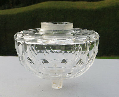 Faceted Cut Glass Peg/Piano Oil Lamp Font / Fount