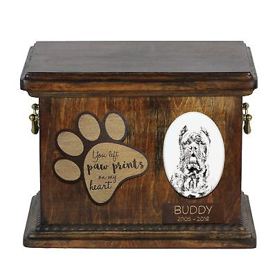 Cane Corso - urn for dog's ashes with ceramic plate and description Art Dog AU