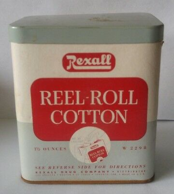 Vintage Rexall Reel-Roll Cotton Package 1 1/2 oz. W 2298 Tin Drug Store Full