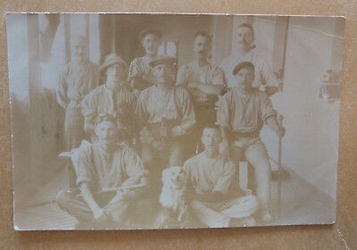 Real Photo Postcard- Group Photo with Dog,Taken at St Andrews, Malta- March 1912