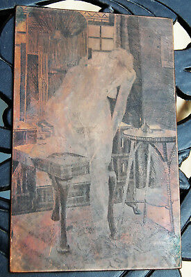 Copper Print Plate - Nude Woman – Erotica - Vintage – Collectable