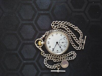 Silver Victorian Vintage Pocket Watch And Antique Albert Chain