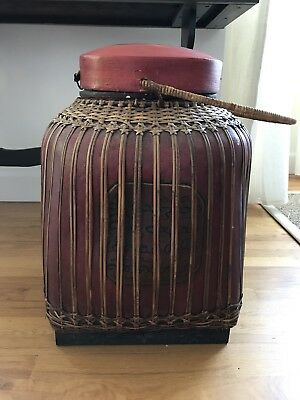 Vintage Antique Asian Thailand China Storage Basket Bamboo Rattan lacquer