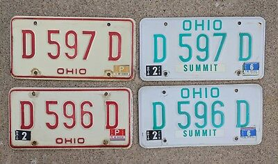 4 license plates Vintage Original OHIO car tags 1979 1980 1991 green red white