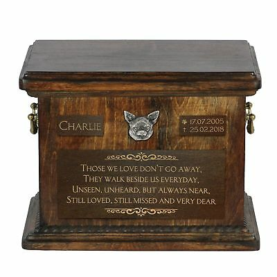 Chihuahua smoothhaired - urn for dog's ashes with relief and sentence, ArtDog AU