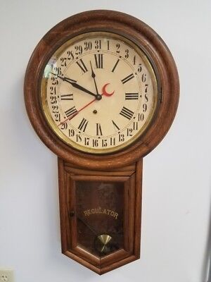 Antique Schoolhouse Oak Regulator Wall Clock with brass 8 day movement