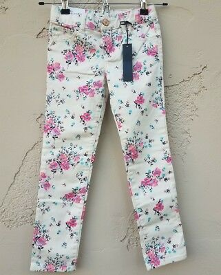 NWT Gap Kids Youth Super Skinny Pants Size 6 Regular Ivory Pink Floral Mid Rise