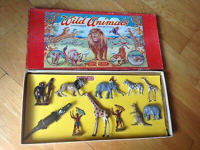 Crescent Rare Large Boxed Safari Zoo Set , Rare Lead Figures Boxed C1950