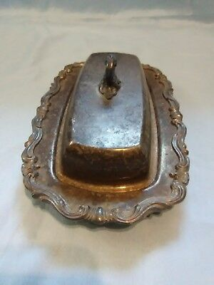 Vintage F.B. Rogers Silver Co. 1959 Silverplate Butter Dish Pressed Glass Insert