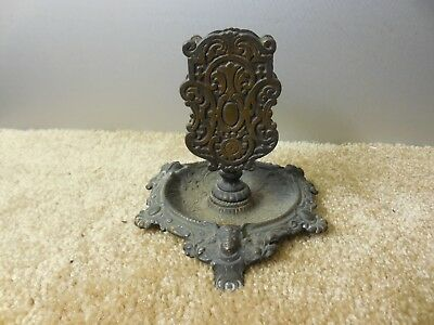 ANTIQUE Victorian Ornate Cast iron Napkin / Match holder Cherub faces ?