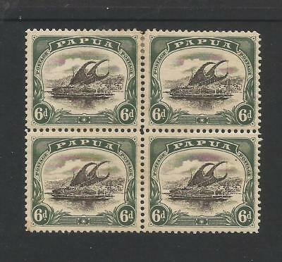 PAPUA NEW GUINEA 1907-10 6d DARK GREEN AND BLACK BLOCK OF 4. TONE MARKS ON GUM.