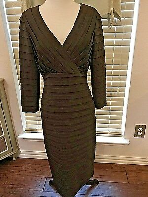 6cf108ef TADASHI Collection Layered Brown Long Sleeve Low Cut Sheath Dress Size S