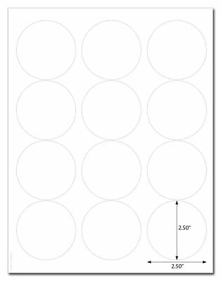 Standard White Matte Circle Labels, 2.5 Inch Diameter, with Downloadable Templat