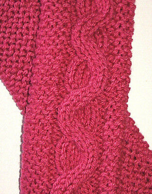 PInk Raspberry Cable & Garter Stitch Knit Fingerless Gloves Text  Hand Knit New