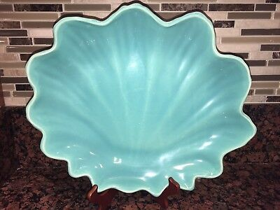 "Catalina Pottery Sea Shell Platter/Low Bowl Turquoise/Coral  Scalloped 15"" x 12"""