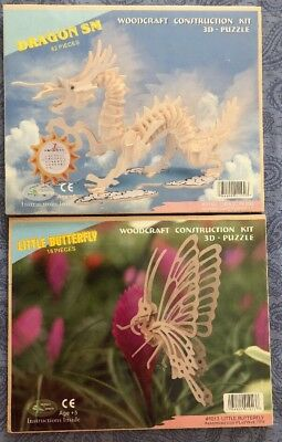 Woodcraft Construction Kit 3D Puzzle DRAGON & BUTTERFLY