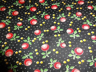 Vintage 40s - 50s Cotton Fabric Apples, Flowers Apron Doll Dress  BTY