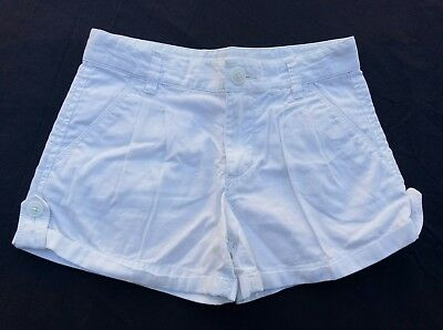 Country Road Girls Shorts Size 7 White Zip Button Front Adjustable Elastic Waist