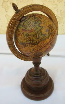 "Antique Vintage Miniature Earth Globe for 16"" Doll Stand Dollhouse 7.5"" Tall"