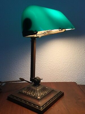 Antique Emeralite Bankers Desk Lamp #8734 Works As Is