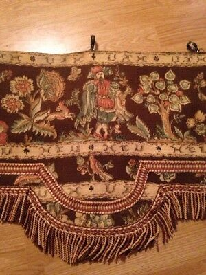 Antique  Aubusson Tapestry beautiful drapery drape Valance Gorgeous
